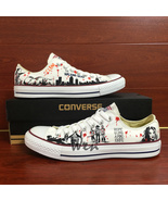Sneakers Low Top Women Men's Converse All Star Walking Dead Hand Painted... - $149.00