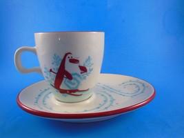 Starbucks Christmas Holiday Winter Cup & Saucer 6 oz Penguin & Snowman 2007 - $11.09