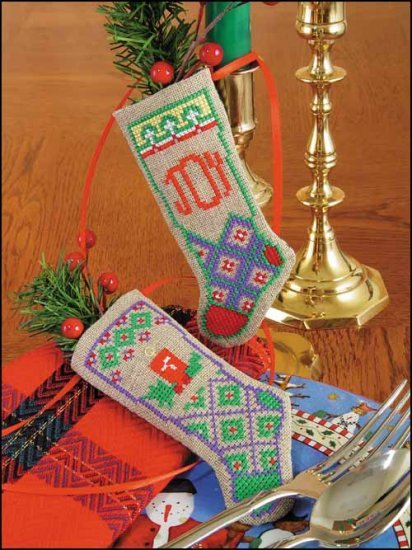 "Primary image for Joy & Light Linen Stocking Ornament kit christmas 4.75"" tall cashel linen"