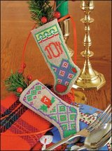 "Joy & Light Linen Stocking Ornament kit christmas 4.75"" tall cashel linen  - $6.30"