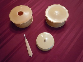 Vintage Antique Art Deco Celluloid Bakelite Vanity Dresser Set Powder, h... - $8.99
