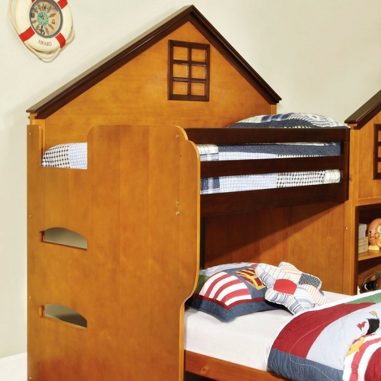 Bed loft house twin kids school bunk stairs drawers storage bedroom sets - Loft bed with drawer stairs ...
