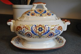 Vintage Ceramic Soup Tureen and Matching Base Plate in Blue and Brown Fl... - $37.39