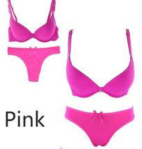 Women Push up Bra Set Thong Panty Seamless 32 34 36 38 40 B C Cups Unter... - $15.98