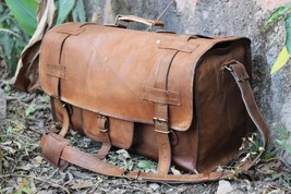 Genuine Brown Leather Large Vintage Duffle Travel Gym Weekend Overnight Bag - $67.52