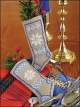 "White Christmas Linen Stocking Ornament kit christmas 4.75"" tall cashel ... - $6.30"
