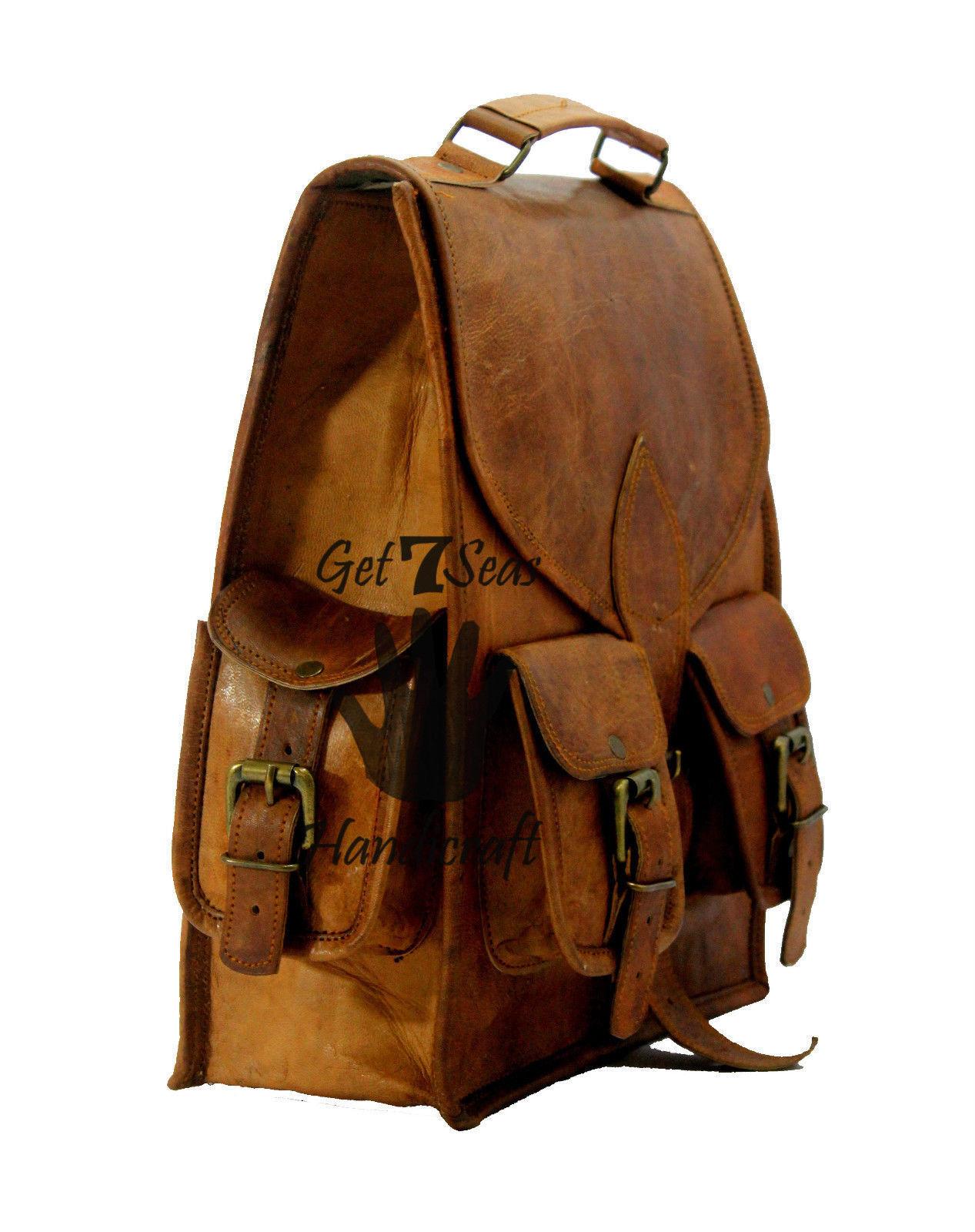 """13"""" Men's Leather Vintage Backpack Shoulder Bag Messenger Bag Rucksack Handmade image 2"""