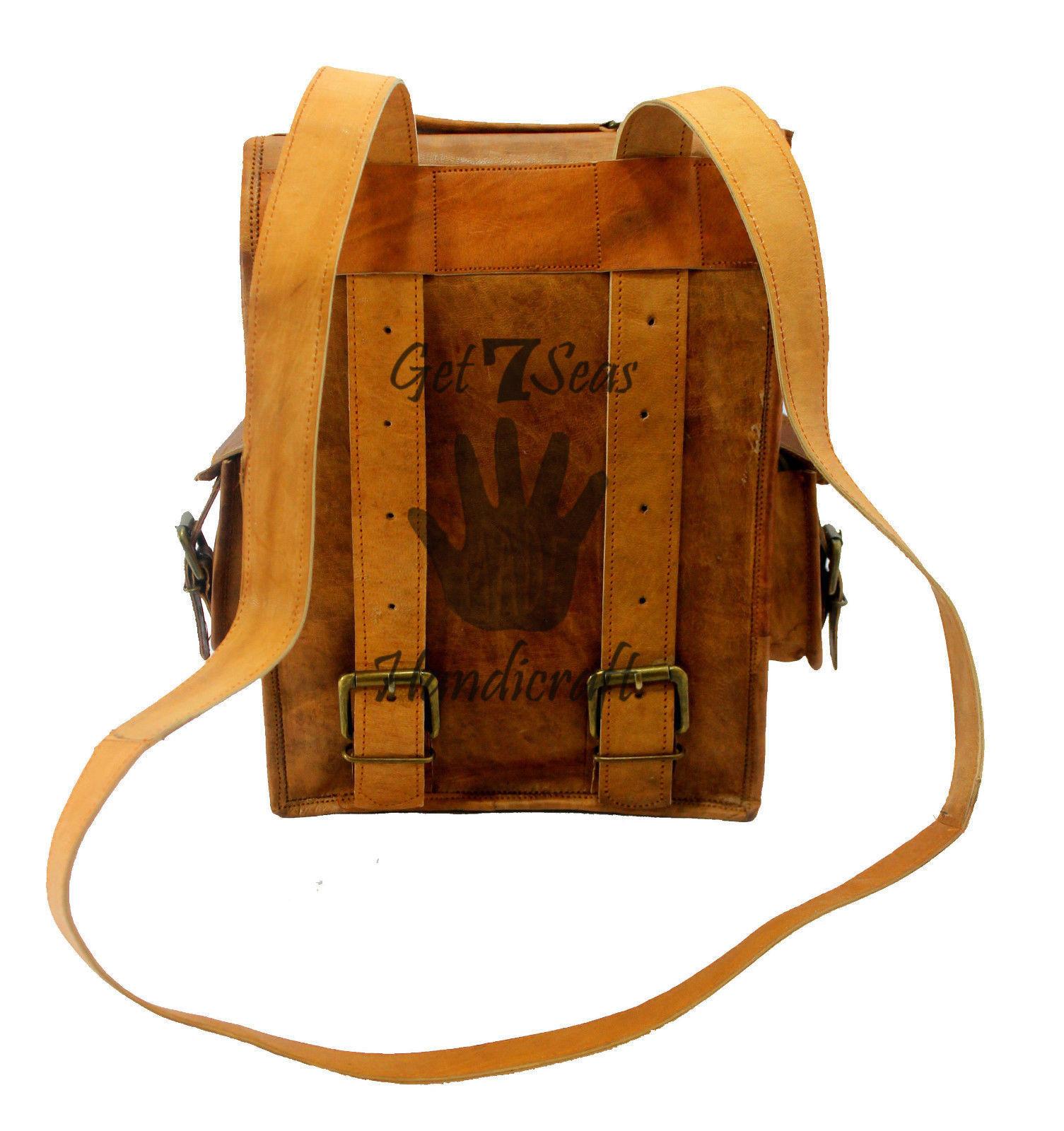 """13"""" Men's Leather Vintage Backpack Shoulder Bag Messenger Bag Rucksack Handmade image 4"""