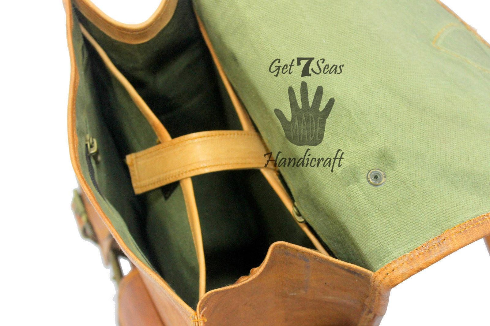 """13"""" Men's Leather Vintage Backpack Shoulder Bag Messenger Bag Rucksack Handmade image 7"""