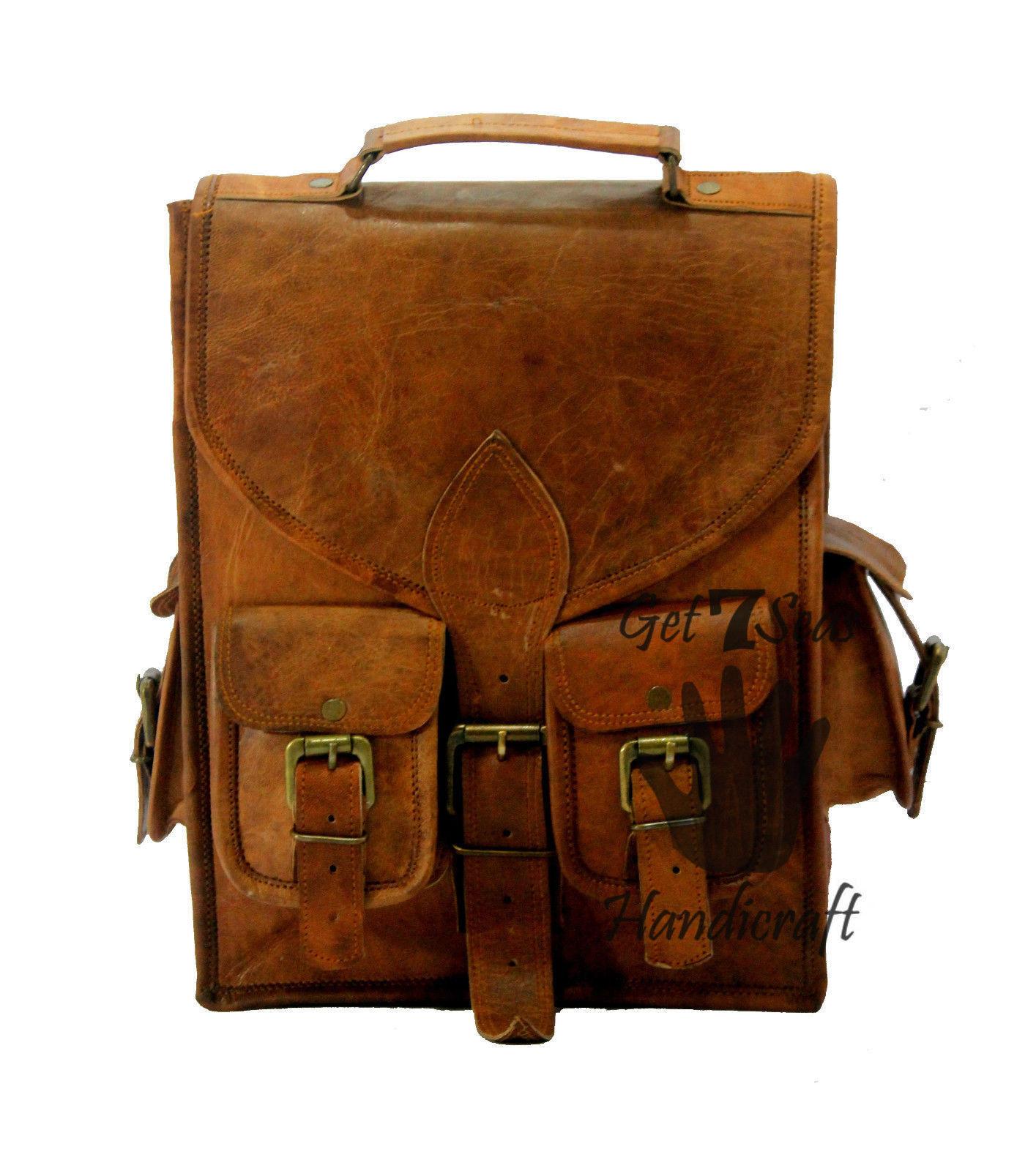 """13"""" Men's Leather Vintage Backpack Shoulder Bag Messenger Bag Rucksack Handmade"""