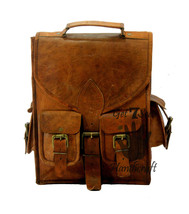 "13"" Men's Leather Vintage Backpack Shoulder Bag Messenger Bag Rucksack H... - $77.38"