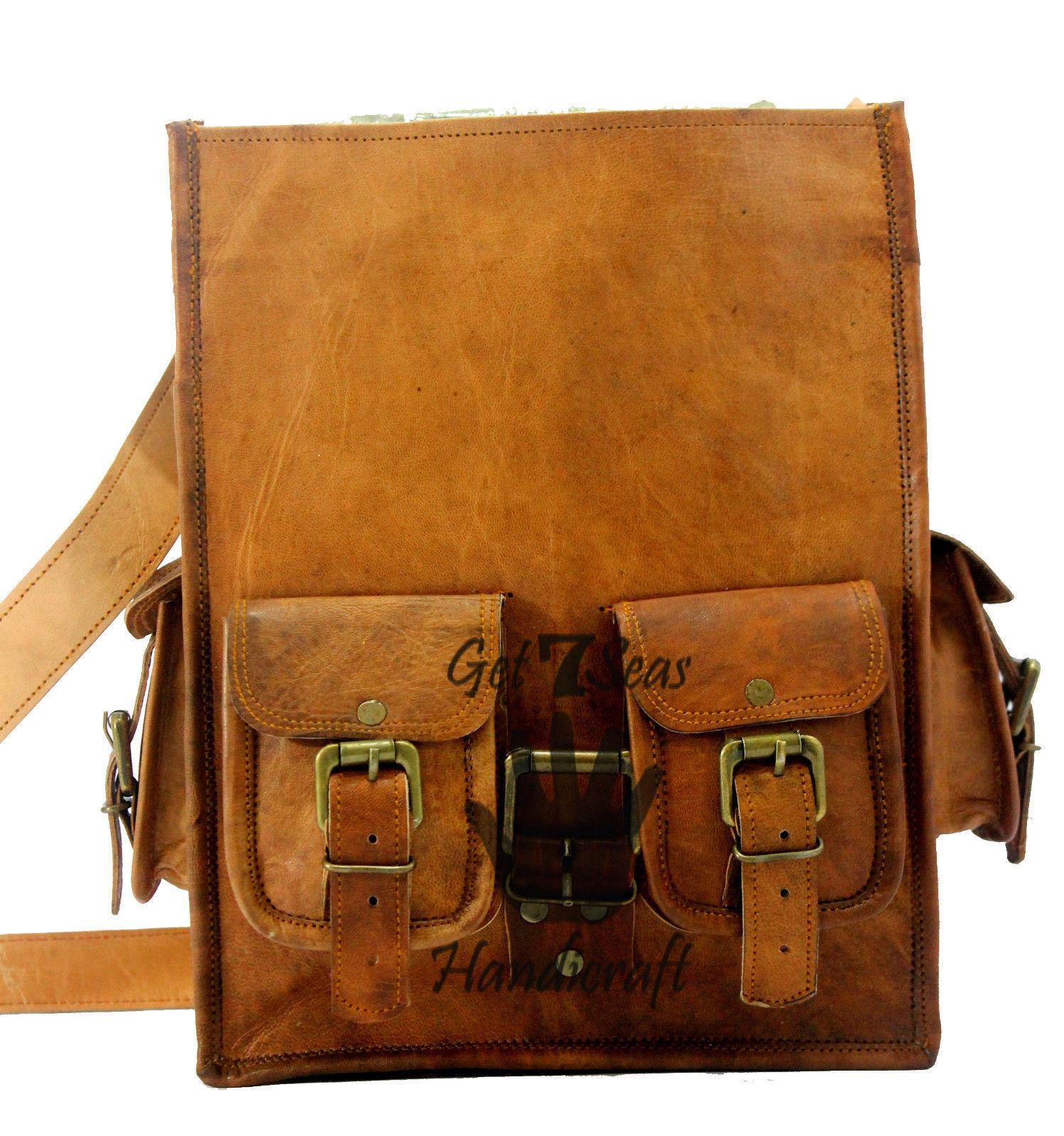 """13"""" Men's Leather Vintage Backpack Shoulder Bag Messenger Bag Rucksack Handmade image 6"""