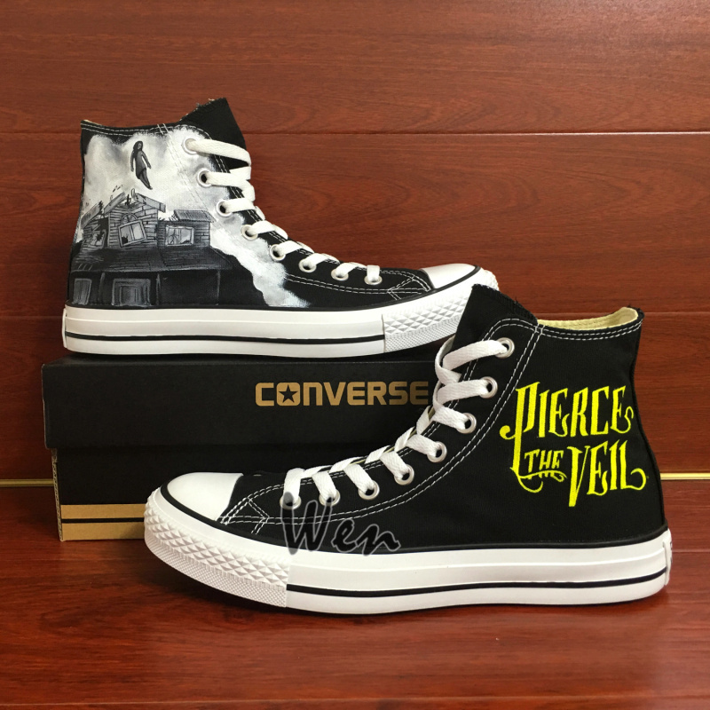 Sneakers Women Men's Converse All Star Pierce the Veil Design Hand Painted Shoes