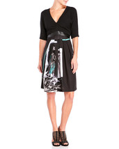 Save The Queen Italy:  Enchanted Forest Faux Leather Waist Dress - $139.92