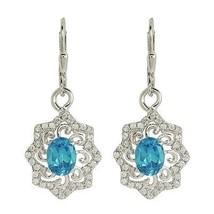 Women Wedding Jewelry 925 Sterling Silver Earring with Blue Topaz Stone SHER0012 - $21.13
