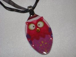 PINK OWL- Spoon Pendant / Necklace - $20.00