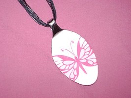 PINK WHITE BUTTERFLY- Spoon Pendant / Necklace - $20.00
