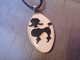 FRENCH POODLE BLACK WHITE- Spoon Pendant / Necklace - $10.00