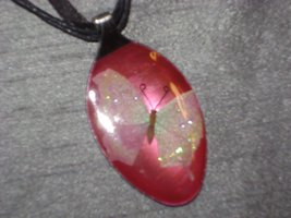 PINK BUTTTERFLY - Spoon Pendant / Necklace - $10.00