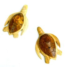 Hand Carved Wooden Set of Two Turtles Wall Plaque Carving Art - $19.74