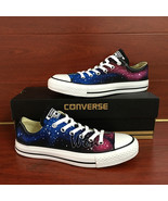 Unisex Sneakers Low Top Red Galaxy Design Converse All Star Hand Painted... - $145.00