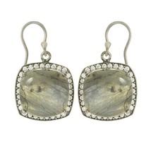 Women Engagement Earring with Labradorite & White Topaz Shiny Gemstone SHER0019 - $34.99