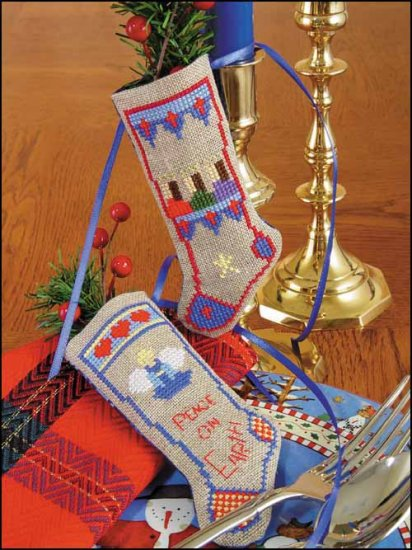 "Primary image for Angels & Kings Linen Stocking Ornament kit christmas 4.75"" tall cashel lin"