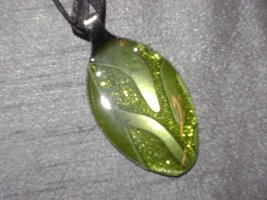 GREEN SCROLL- Spoon Pendant / Necklace - $10.00