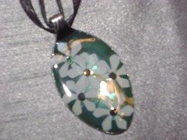 BLUE FLOWER FLORAL- Spoon Pendant / Necklace - $10.00