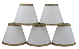 Urbanest Set of 5 Off White Silk Chandelier Lamp Shade with Gold Trim, 3-inch by - $29.69