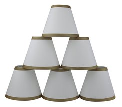 Urbanest Set of 6 Off White Silk Chandelier Lamp Shade with Gold Trim, 3-inch by - $34.64