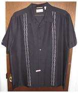 Mens Cubavera Camp Button Up Shirt Size Large Black - $14.99