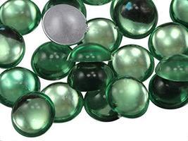KraftGenius Allstarco 11mm Green Peridot .PD Flat Back Acrylic Round Cabochons P - $5.24