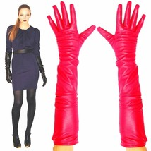 Women's 23 inches long,Red 100% Lambskin Leather Opera Length Gloves - $45.99+