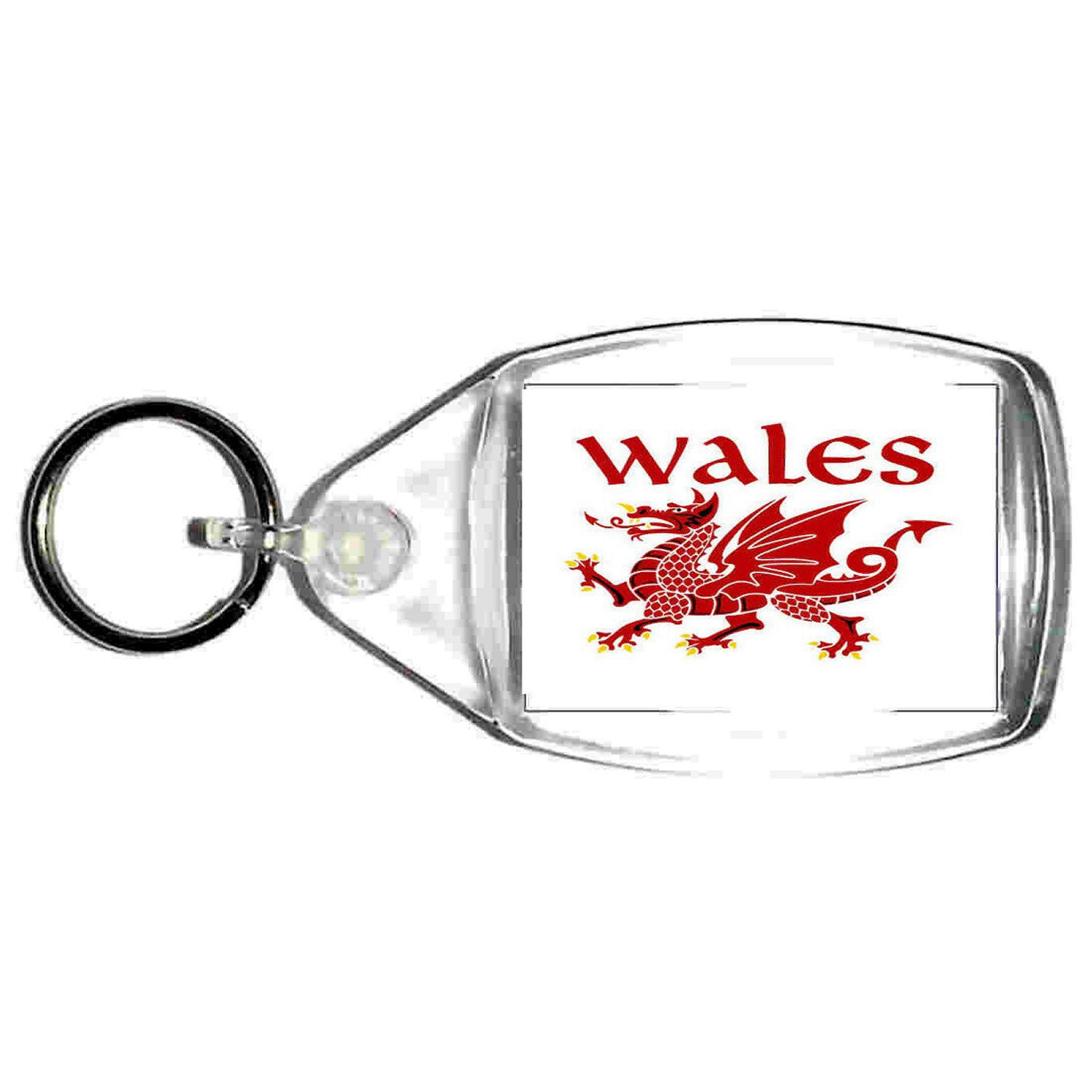 keyring double sided wales, welsh red dragon design, keychain