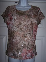 Brittany Black Women's Top Large Sequins Floral Pattern Short Sleeve Cre... - $8.95