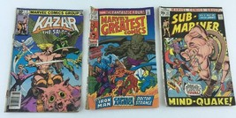 Lot Of 3 Marvel Comic Books Fantastic Four Sub Mariner 60S 70S 80S Vtg MI218 - $12.22