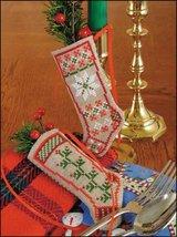 "Snowflakes & Holly Linen Stocking Ornament kit christmas 4.75"" tall cashel linen - $6.30"