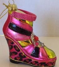 Glass Blown Christmas Tree Ornament Wedge Fuschia Boots Funky Decor Glitter - $28.04