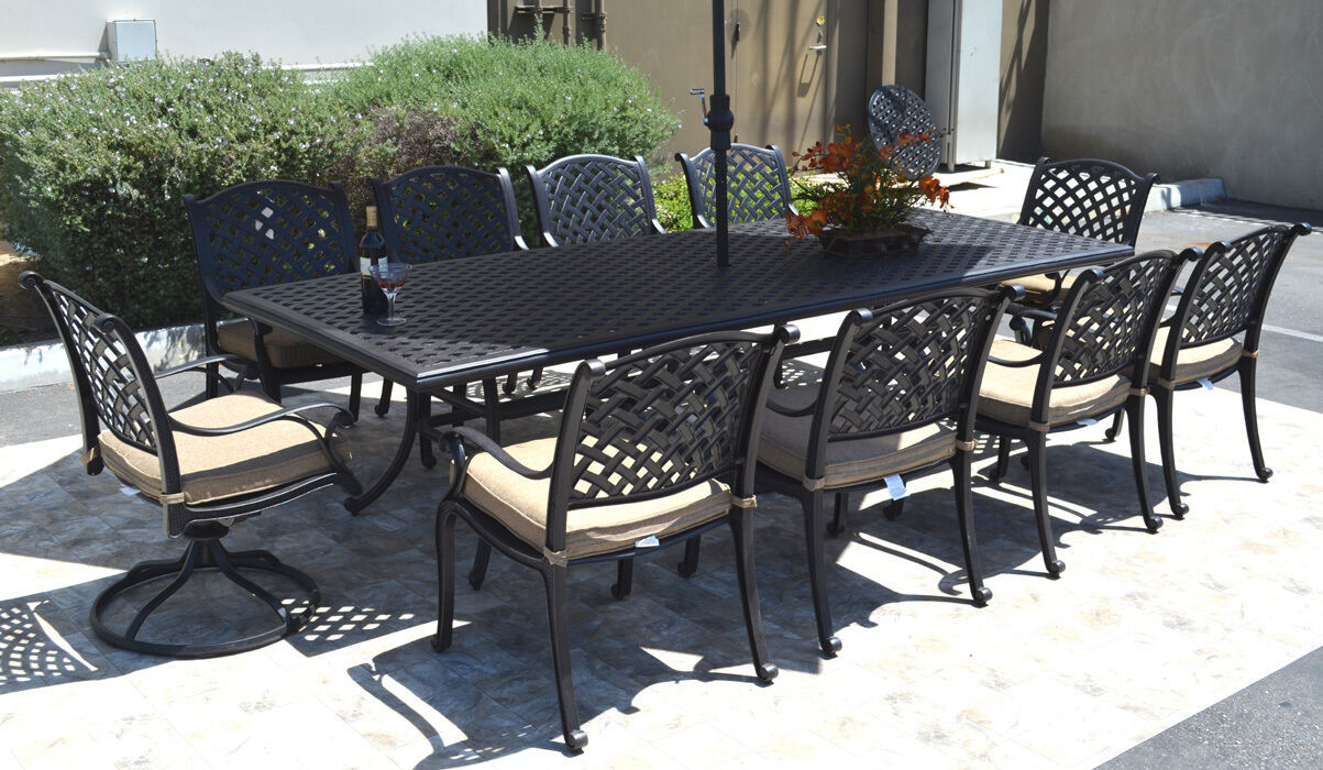 Nassau 10 person cast aluminum patio dining set rectangle outdoor table 46 x 120