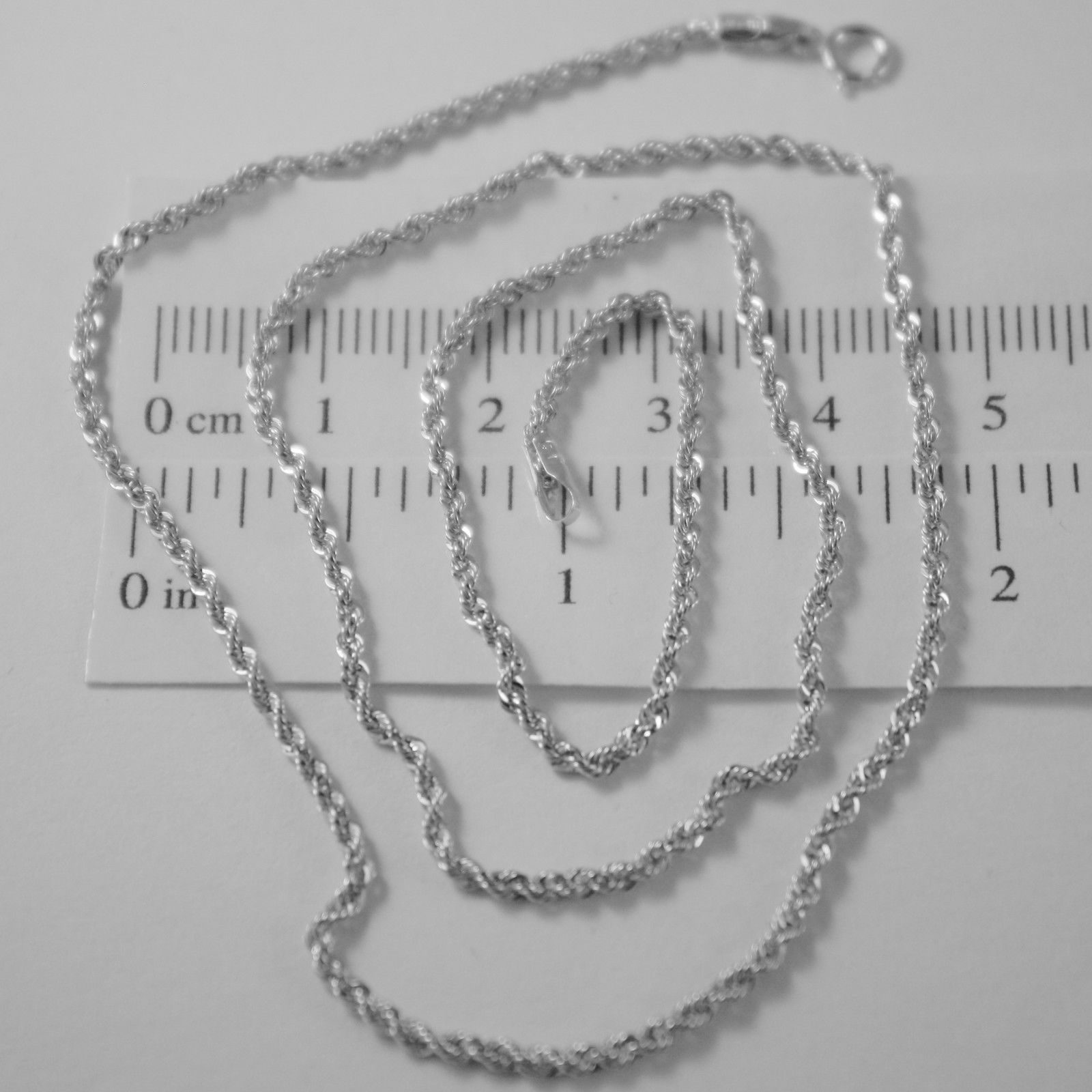 CADENA EN ORO BLANCO 18K, CUERDA 2 MM, COLLAR, 45 CM, MADE IN ITALY, ITALIA