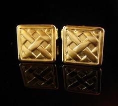 Lattice Basket Weave Cufflinks Vintage petite boys Gold small classic Tu... - $65.00