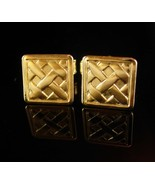 Lattice Basket Weave Cufflinks Vintage petite boys Gold small classic Tu... - $65.00