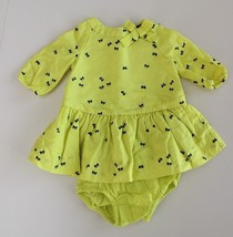 Baby Gap 0-3 M Neon Green Bows Shirt Dress W Bloomers L/S - $18.78