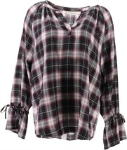 Belle Kim Gravel Flannel Plaid Blouse Tie Slv Bordeaux XXS NEW A309903 - $39.58