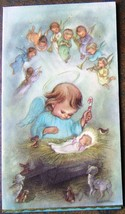 Holy Angels watch over Baby Jesus Nativity Gold Christmas Card USA Vinta... - $24.59