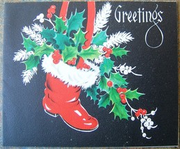 Santa Claus Red Boot Green Ivy Merry Christmas Card American Greeting US... - $24.59