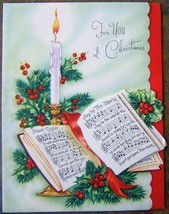 Christmas Carols fold out Songs Candle Holly Die Cut Card 1207 USA Vinta... - $24.59