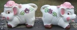 pigs ceramic salt pepper shaker set 1950s handpainted purple violets vin... - $81.99