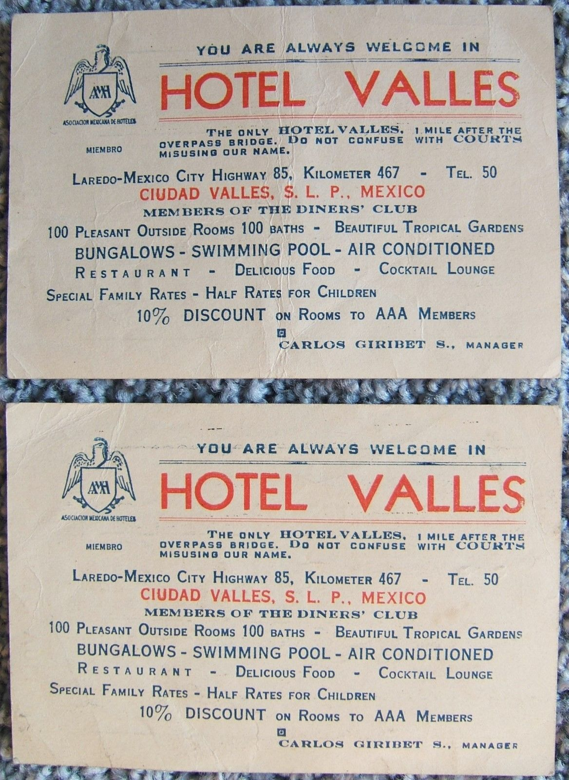 Ebay business card 1950s 1 listing hotel valles mexico two business cards with money exchange table vintage 1950s 4099 colourmoves